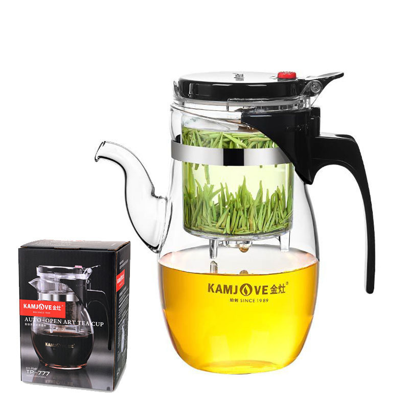 KAMJOVE Elegant tea sets Heat-resistant Glass Teapot TP-787 600ml teaset Kungfu Teasets Press AUTO-OPEN Art tea Cup with infuser