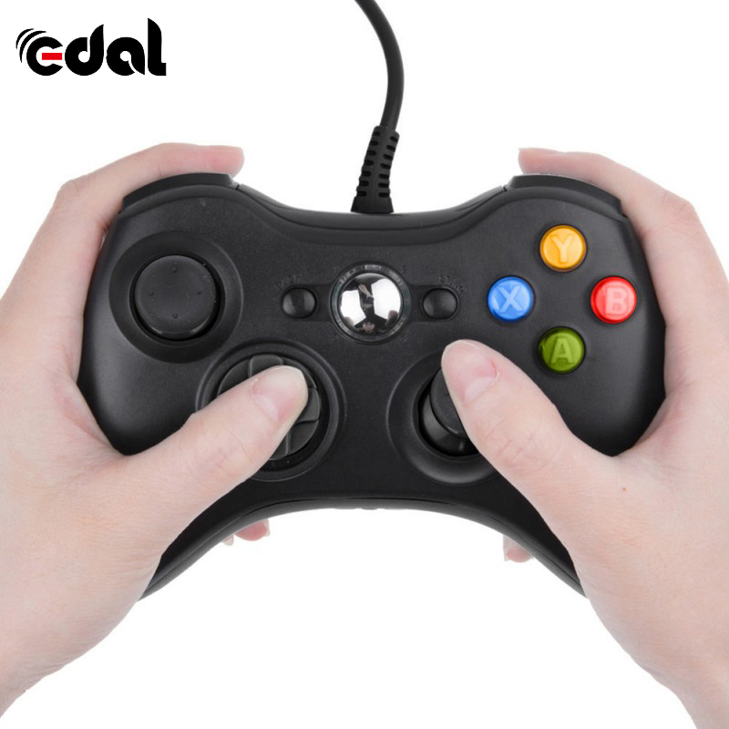 Controller Joystick Gamepad Windows Microsoft Black Portable Xbox-360 Wired for Joypad title=