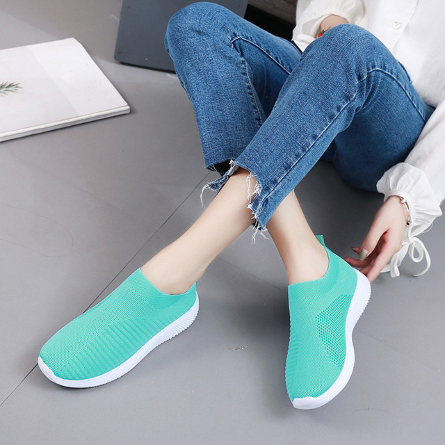 Summer breathable flat shoes women's sports shoes knitted vulcanized shoes mesh anti-slip socks sports shoes сникерсы женские#15 2