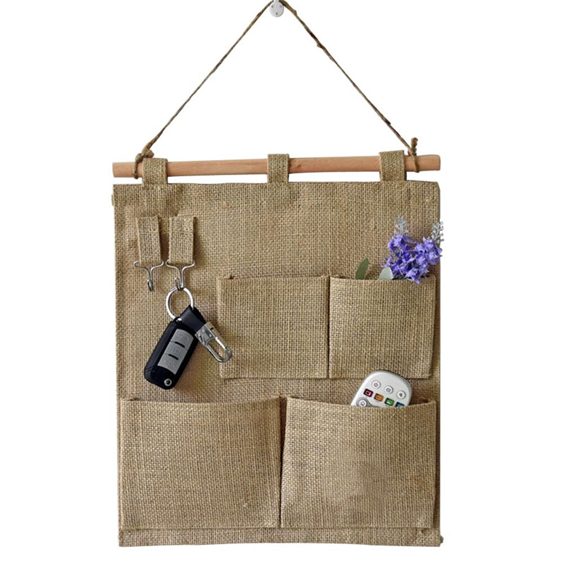TTLIFE Wall Hanging Storage Pocket Space Saver Jute Hemp Hanger Bag Multi Pockets key Sundries Organization Pouch