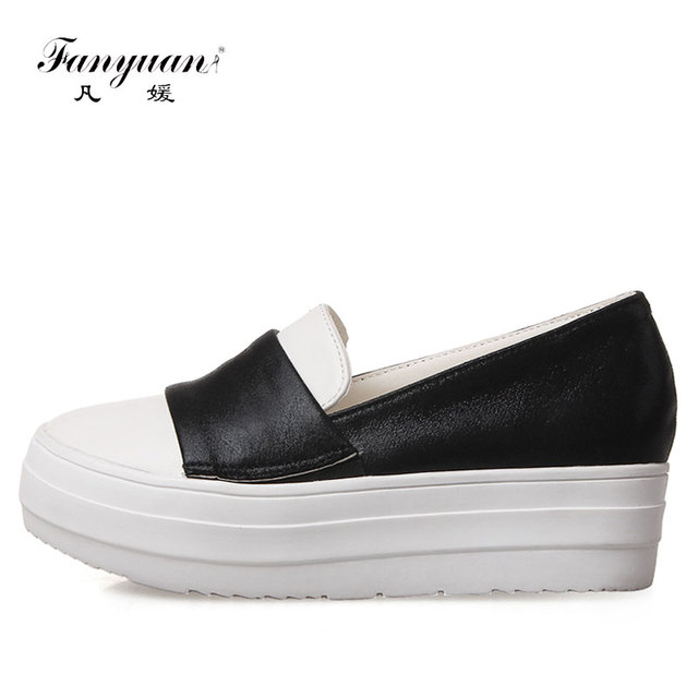 52e8770e652 Fanyuan 2018 New Fashion Branded women Loafer shoes comfortable Mixed color  Slip-on Casual PU leather lady Flat Platform shoes
