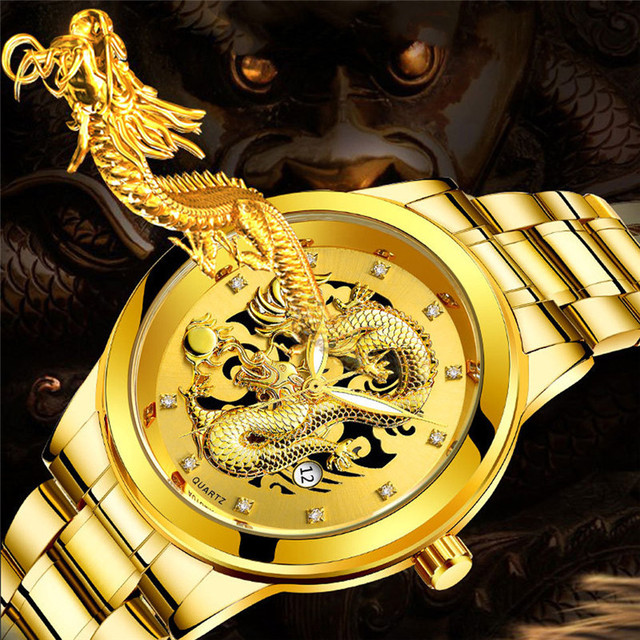 Relogio masculino de luxo quartzo luminoso vie Imperméable À Leau Hommes Or Dragon Sculpture Quartz Montre de Luxe Hommes Montre-Bracelet En Acier