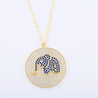 Statement Necklace 2017 Round Charms Copper Metal Micro Pave CZ Blue Red Rhinestone Crystal Elephant Necklace
