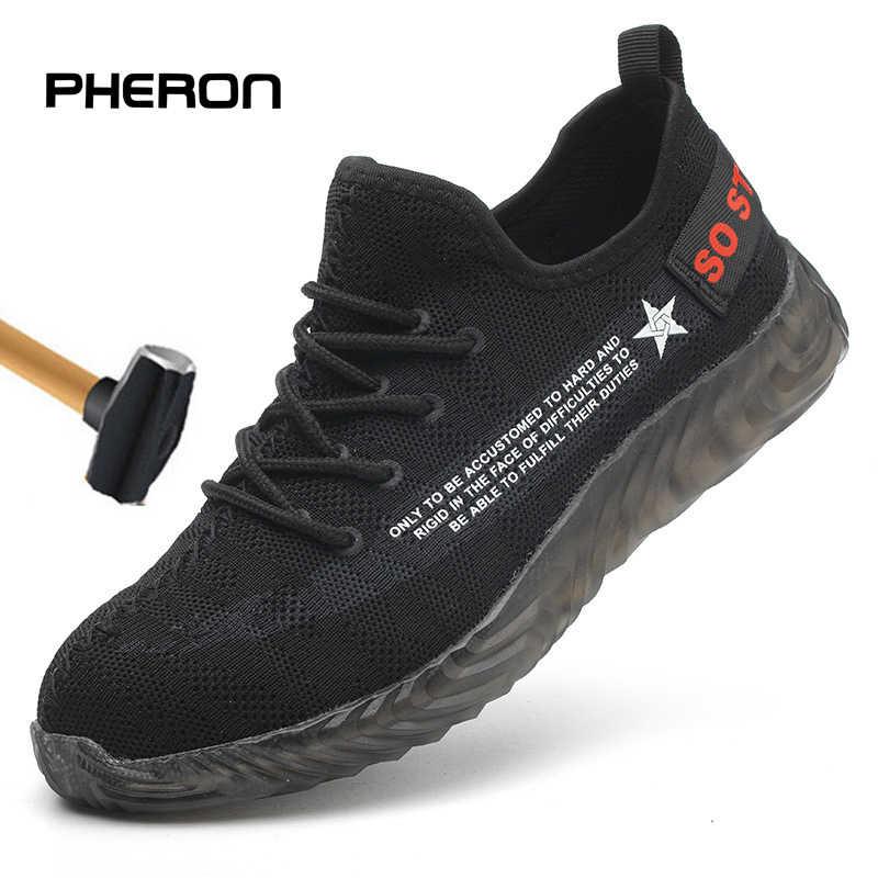 Erkek ayakkabısı 2019 yeni rahat nefes güvenlik ayakkabıları erkekler hafif yaz Anti Smashing Piercing iş sandalet tek örgü