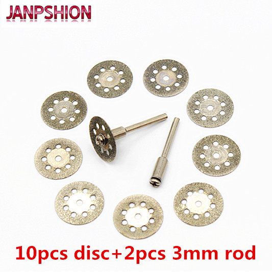 10pc 22mm Dremel Diamond Cutting Disc For Dremel Rotary Tools Accessories With Mandrel 3mm Shanks