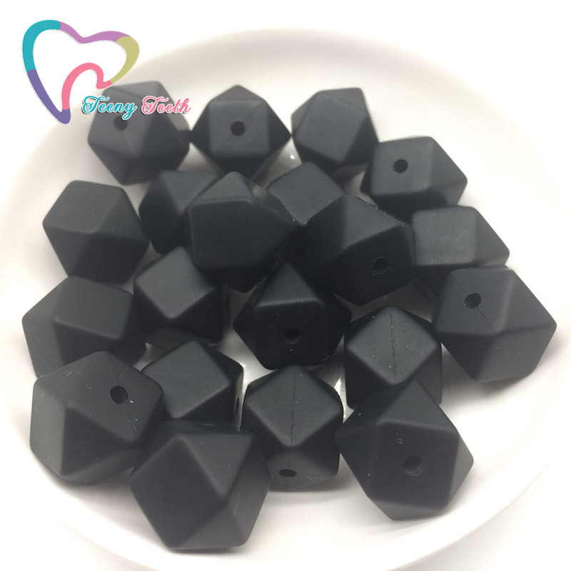 Teeny Teeth 5 PCS Black 14 MM Eco-friendly Hexagon Beads Baby Nursing Accessories Food Grade Silicone Teething DIY Crafts Beads