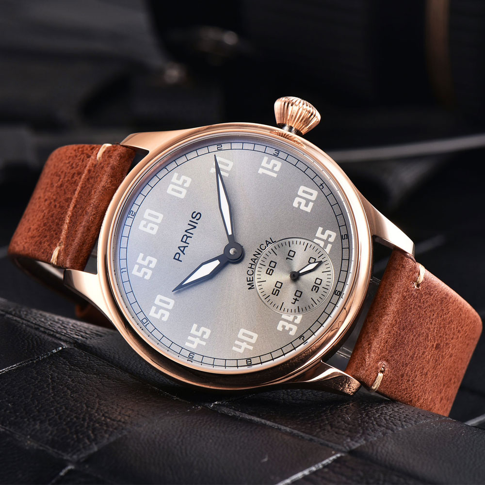 44mm Parnis Grey Dial Rose Golden Plated Case Luminous Marks Leather strap Luxury Brand 6497 Hands Winding Mens Watch