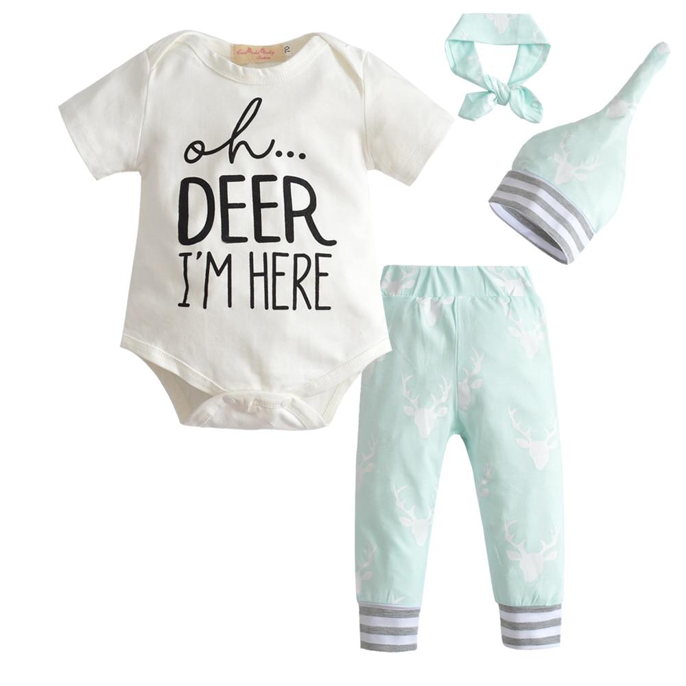 2018 Summer Fashion Baby Girl Boy Clothes Set Cotton Baby Boys Girls Bodysuits T-shirt Pants Hat Outfit Set Clothing 4pcs