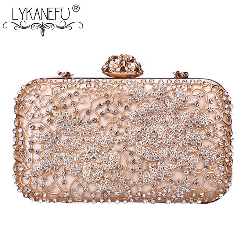 LYKANEFU Hollow Out Flower Hand Bag Evening Bag Luxury Clutch Purse Women Bag Wedding Day Clutches Ladies Chain Shoulder Bags стоимость