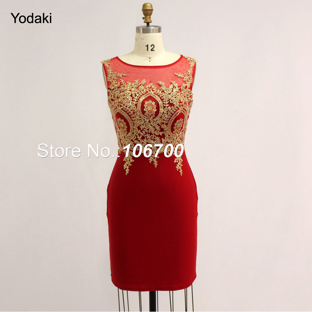 Real Photos Short Prom Dresses Lace Applique Embroidery Sheer Illusion Red Black White Party Evening Gowns