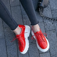 2019 Spring Autumn Fashion Ladies Casual Shoes For Woman Vulcanized Shoes Genuine Leather Flat Platform Women Chunky Sneakers