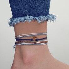 JCYMONG 4 шт Boho простая веревка-цепь ножные браслеты золотого цвета спрей, металлический браслет на лодыжке на ноге бижутерия для ног для женщин