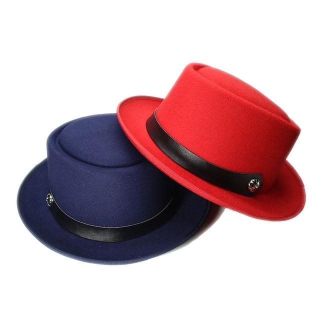 LUCKYLIANJI Vintage Retro 100% Wool Women s Men s Round Top Cap Fedora  Porkpie Pork Pie Bowler Hat Leather Band (57cm b60867e6c849