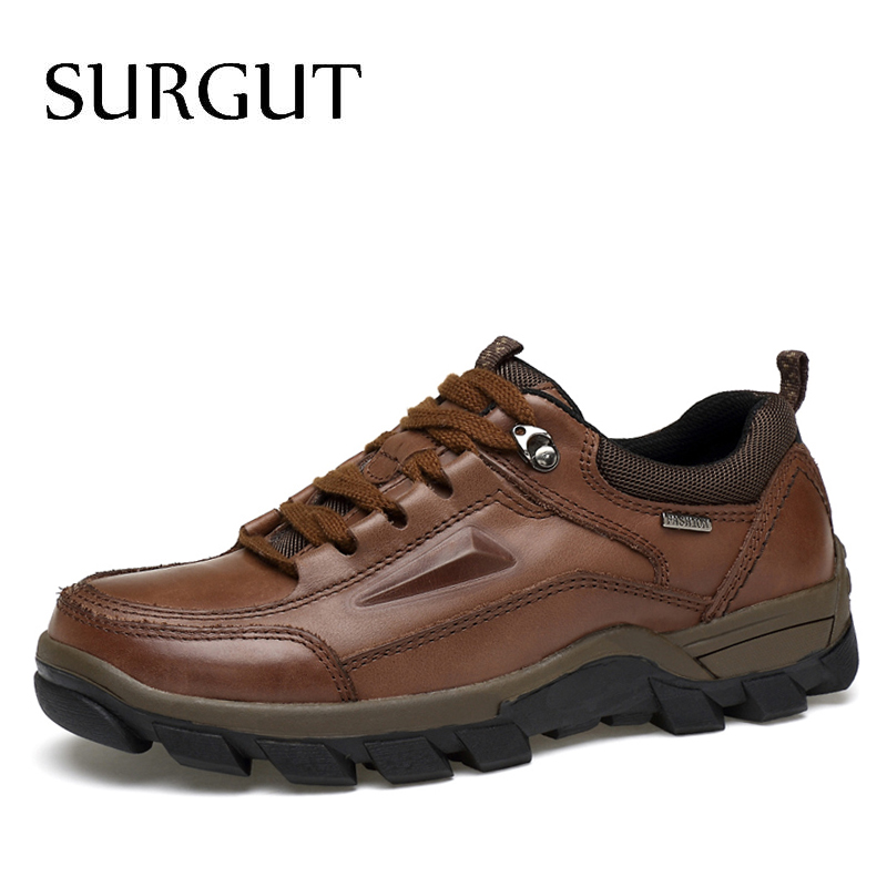 цены  SURGUT Brand Plus Size 37-47 Men Shoes 2017 Spring Autumn Fashion Genuine Leather Casual Shoes Breathable Loafers Flat Men Shoes
