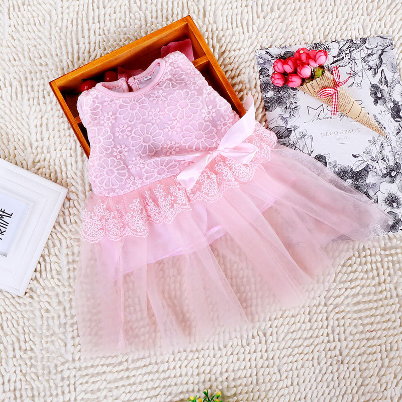 2017 summer Baby girls casual dresses lace voile floral tutu infant kids clothes toddler girls clothing sets vestido bebe ropa