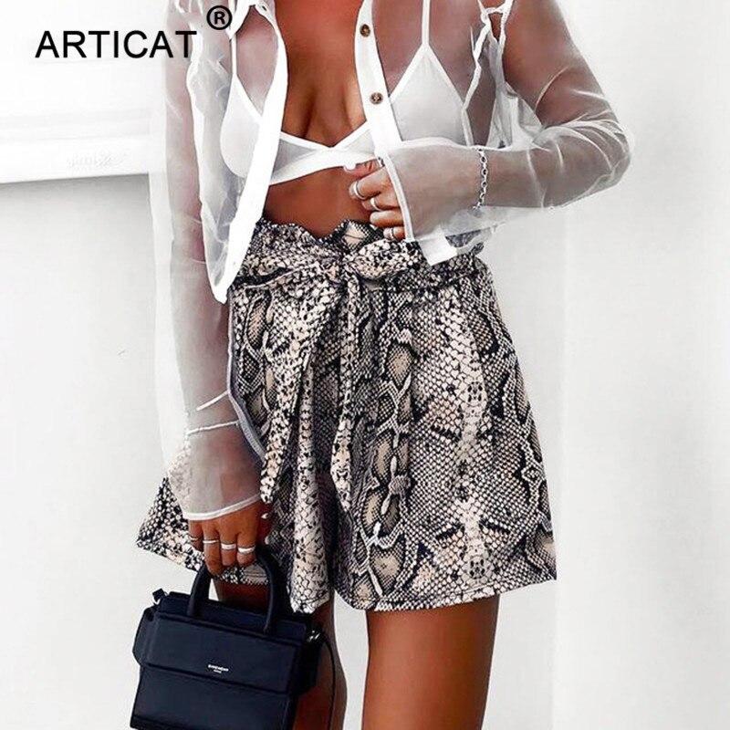 Articat Fashion Snake Print High Waist Shorts Women Casual Elastic Bandage Wide Leg Loose Shorts Sexy Lace Up Ruffle Mini Shorts