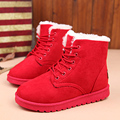 Women boots 2016 fashion fur ankle boots for women shoes winter boots lace up warm snow boots black