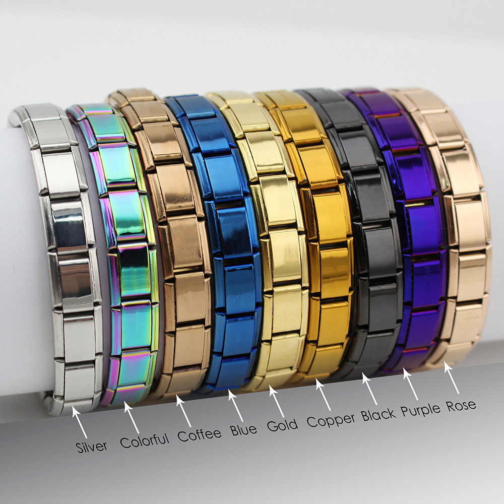 Hapiship 2018 женские ювелирные изделия 9 мм ширина Itanlian эластичный браслет с шармами модный серебряный браслет из нержавеющей стали ST-Silver
