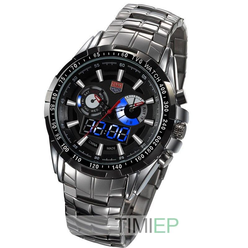 TVG Men İdman kişi tam polad Kvars hərbi saat Watch Hunter Blue - Kişi saatları - Fotoqrafiya 1
