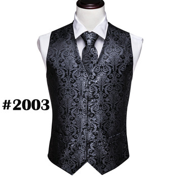Designer Mens Classic Black Paisley Jacquard Folral Silk Waistcoat Vests Handkerchief Tie Vest Suit Pocket Square Set Barry.Wang 23