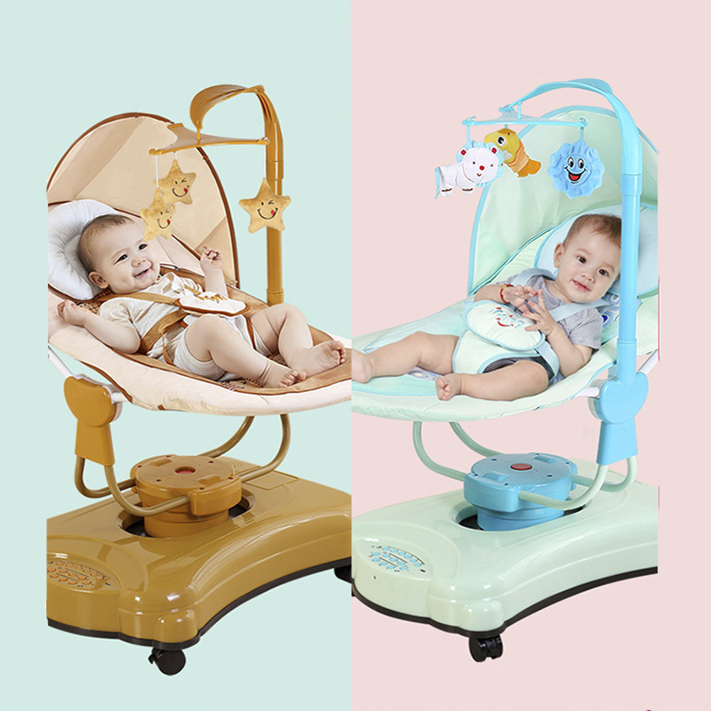 Intelligent Baby Electric Rocking Chair Children Automatic Rocking Shaker With Wheels Easy To Move Electric Rocking Chair