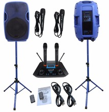 2 STARAUDIO 3500W 15″PA Blue Powered Active PA DJ Stage BT MP3 USB Speakers W/2CH Wireless Mics With 2 Wired Microphone SSBM-15