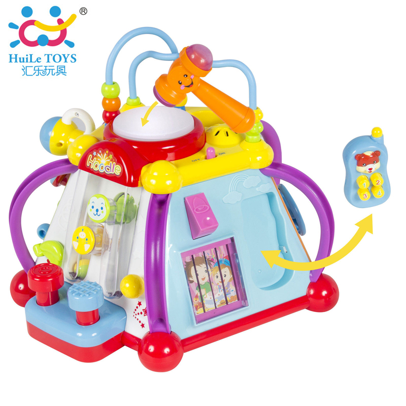 Baby Toy Musical Instrument Activity Cube Play Center with Lights,15 Functions & Skills Learning & Educational Toys For Kids sassy seat doorway jumper 5 toys with musical play mat