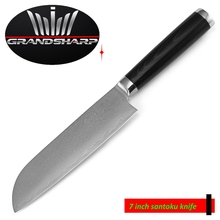 GRANDSHARP 7 Inch Santoku Knife 67 Layers Japanese Damascus Stainless Steel VG-10 Core Micarta Handle Kitchen Tool FREE SHIPPING