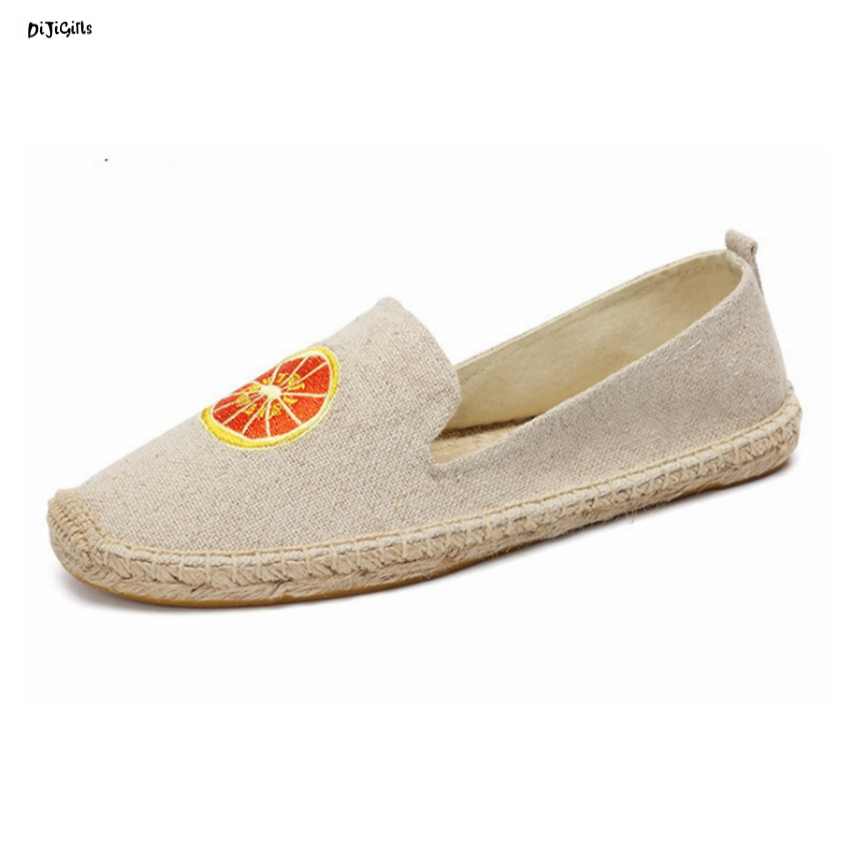 Women Fashion Hemp Flats Soft Comfortable Slip On Canvas Casual Shoes Woman Espadrilles Loafers syt139 new women chinese traditional flower embroidered flats shoes casual comfortable soft canvas office career flats shoes g006