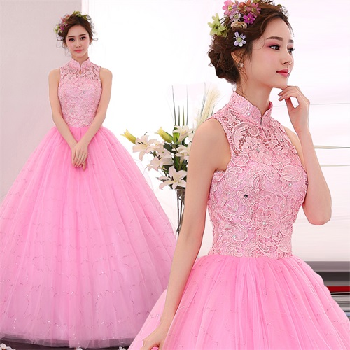 2017 hot sale sleeveless wedding floor lace bridal gowns length pink dress vestido de noiva beautiful dress