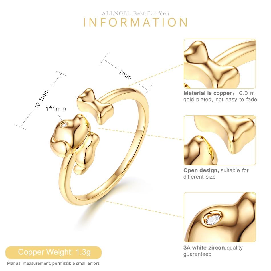 ALLNOEL Real Zircon Ring For Women Stainless Steel Open Design Bijoux En Argent Cute Dog Bone Gemstone Jewelry Wedding Gift  (3)
