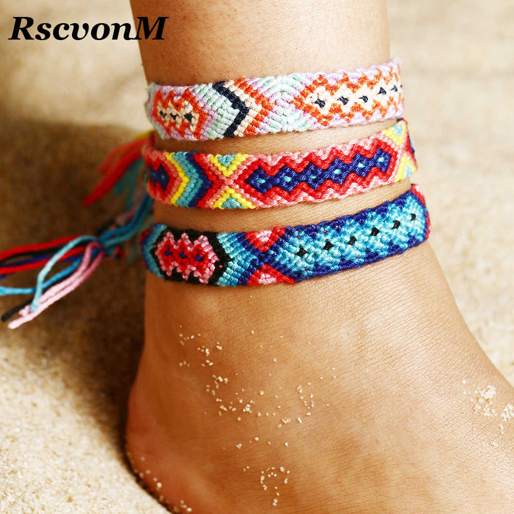 RscvonM Summer Bohemia Anklets Colorful Beach Charm Rope String Anklets For Women Ankle Bracelet Woman Sandals On the Leg Chain