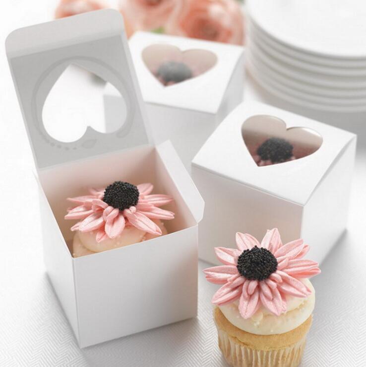 50pcs White Heart Mini Cupcake Wedding Laser Candy Box Favor Box Wedding Favour Box For Girls Boys Birthday Babyshow Supplie