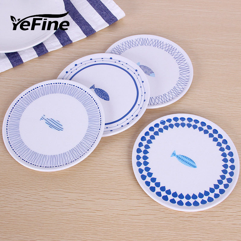 YeFine 6 PCS  Lot Cartoon Melamine Cake Dishes And Plates Pastry Fruit Saucer Tray Ceramic Tableware For Steak Dinner Plates