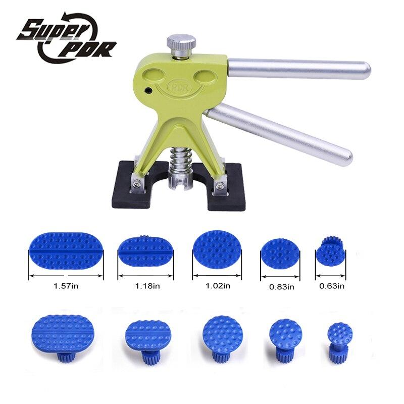 Super PDR Werkzeuge Professionelle Grün Dent puller 10 stücke Kleber Tabs High Qualität Auto Ausbeulen ohne Reparatur Werkzeuge Set