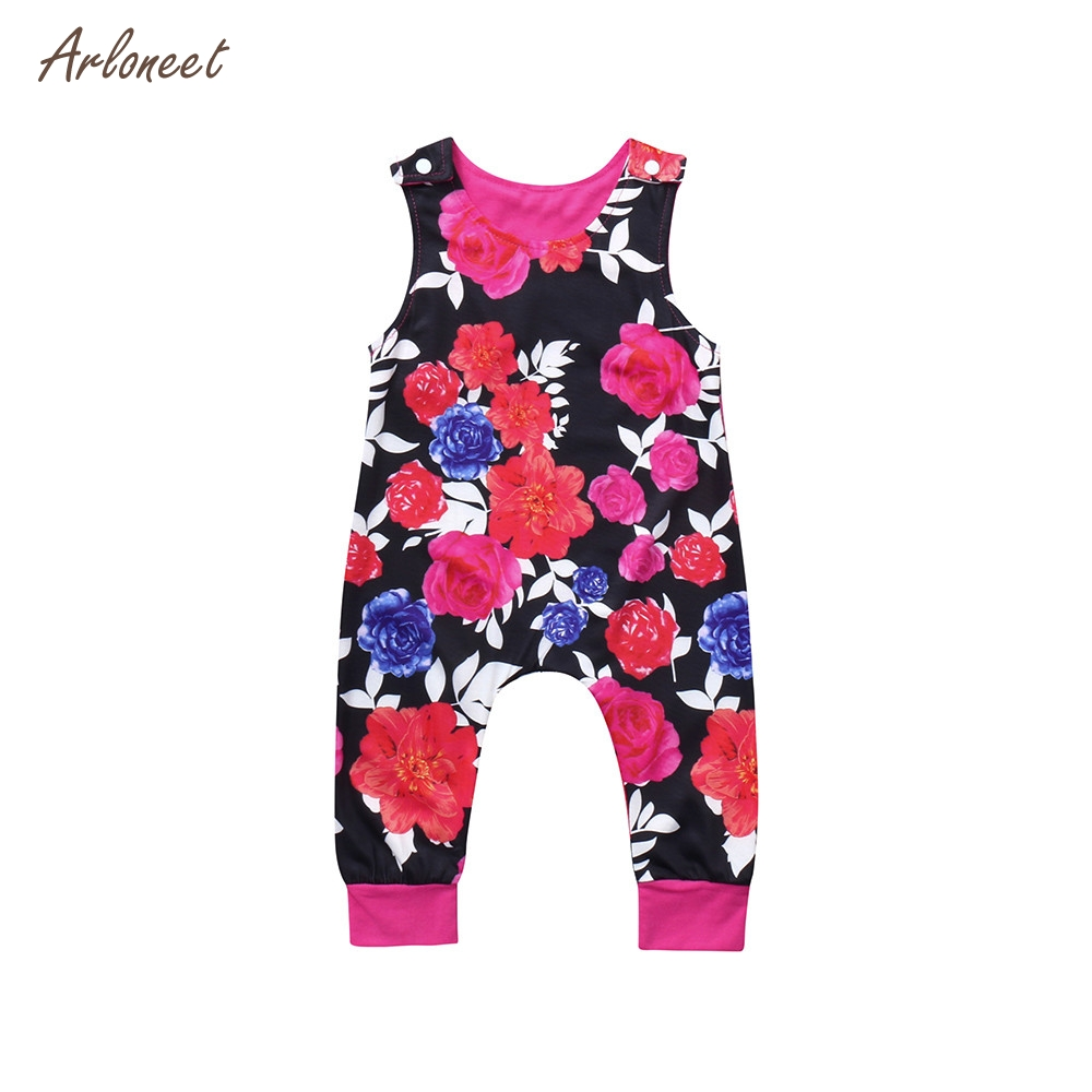 ARLONEET Cute Kids Toddler Baby Floral Print Girls Outfits Clothes Romper Jumpsuit _F11