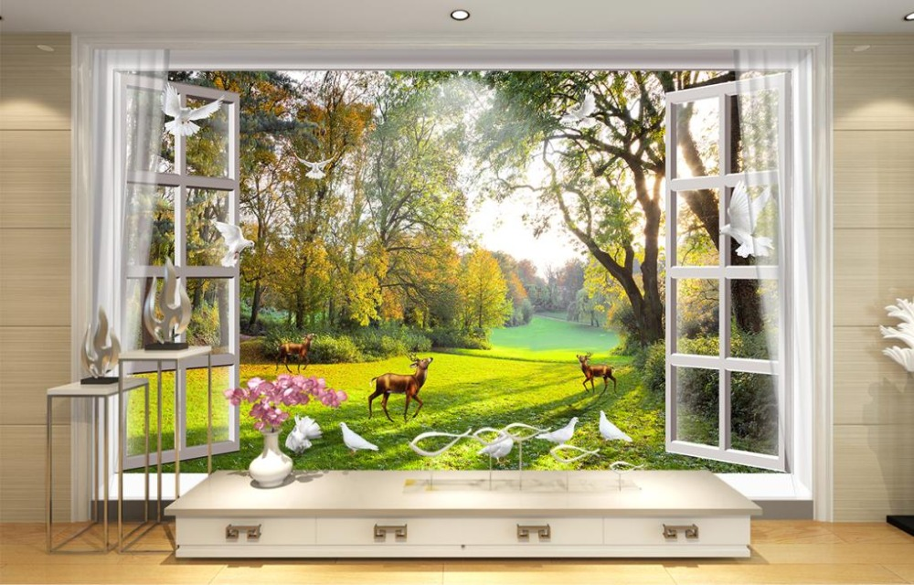 buy home decor 3d wall mural wallpaper for bedroom window nature landscape. Black Bedroom Furniture Sets. Home Design Ideas