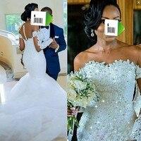 Спинки свадебное платье сексуальное платье vestido de noiva халат de mairee Свадебные платья Русалка Длинные рукава Свадебные платья из бисера Кружев