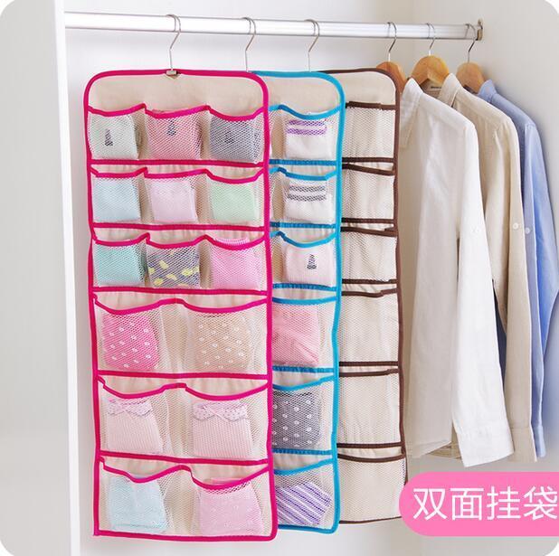 Bra Underwear Socks Armazenamento Organizador do Armário de parede Dupla Face Saco De Armazenamento De Suspensão Da Porta