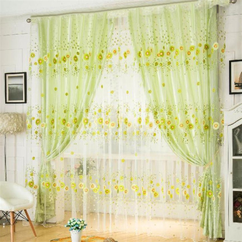 HOMEG 200cm*100cm Print Floral Voile Door Curtain Window Room Curtain Divider Scarf 18Apr5 Drop Ship