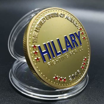 50 Pcs The Iron woman Hillary Clinton 1 OZ 24K real gold plated badge USA style collectible home art 40 mm souvenir coin