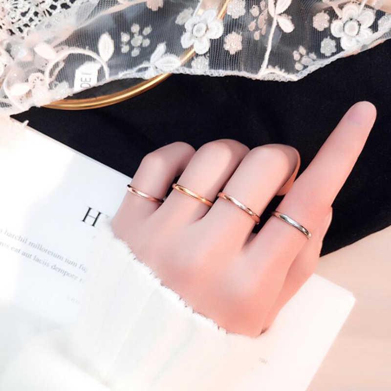 Küçük paslanmaz çelik yüzükler kadınlar için siyah gül altın gümüş renk kuyruk halka moda takı toptan