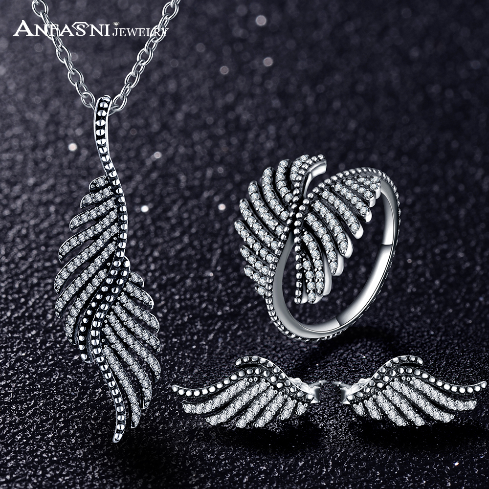 ANFASNI 2017 New 925 Sterling Silver Jewelry Set Feather Clear Cubic Zirconia Jewelry Sets For Women Engagement Jewelry