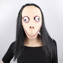GNHYLL Momo Mask Hacking Game Horror Latex Full Head Big Eye With Long Wigs Halloween