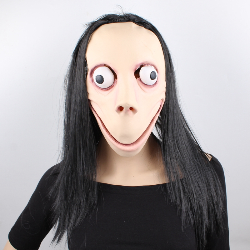 GNHYLL Momo Mask Hacking Game Horror Latex Mask Full Head Momo Mask Big Eye With Long Wigs Halloween Mask image