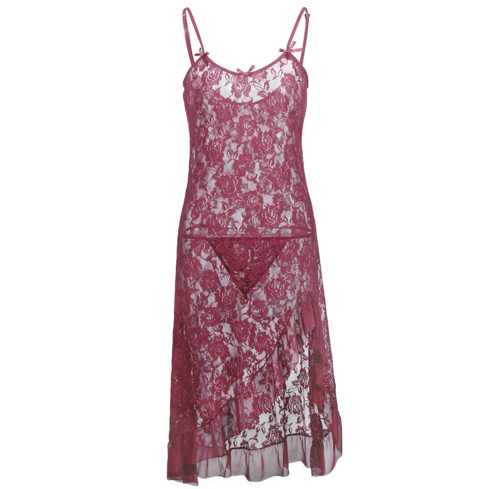 Plus Size S-6XL Pink Babydoll Sleepwear Lace Exposed Breast Underwear Lingerie