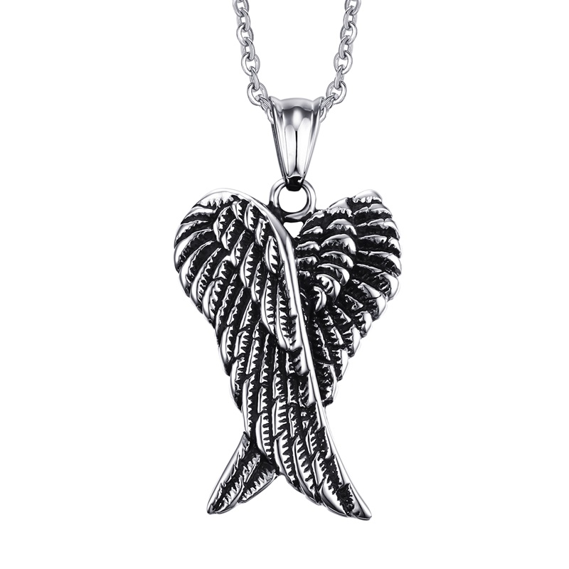 JHSL Brand Fashion stainless steel novelty Feather wing Pendant necklace for Men Male Chain Jewelry Christmas Gift