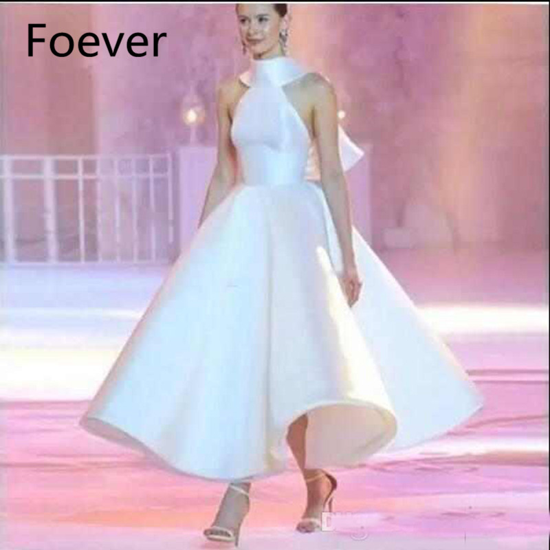 Elegant White Runway Evening Dresses Satin High Neck A Line Prom Gowns Backless Formal Fashion Party Dresses With Big Bow Back