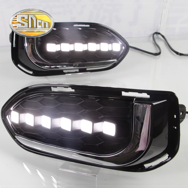 SNCN Yellow Turning Functions Waterproof ABS Cover 12V Car DRL LED Daytime Running Light Daylight For Honda Jazz 2018 2019 super dimmable waterproof abs matte grid cover abs 12v car drl led daytime running light for bmw e70 x5 2011 2012 2013