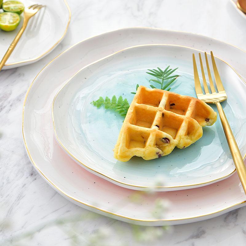 European Real Gold Stripe Spot Ceramic Dinner <font><b>Plate</b></font> Bowl 4 inch 6 inch 7 inch 10 inch Porcelain Fish <font><b>Plate</b></font>